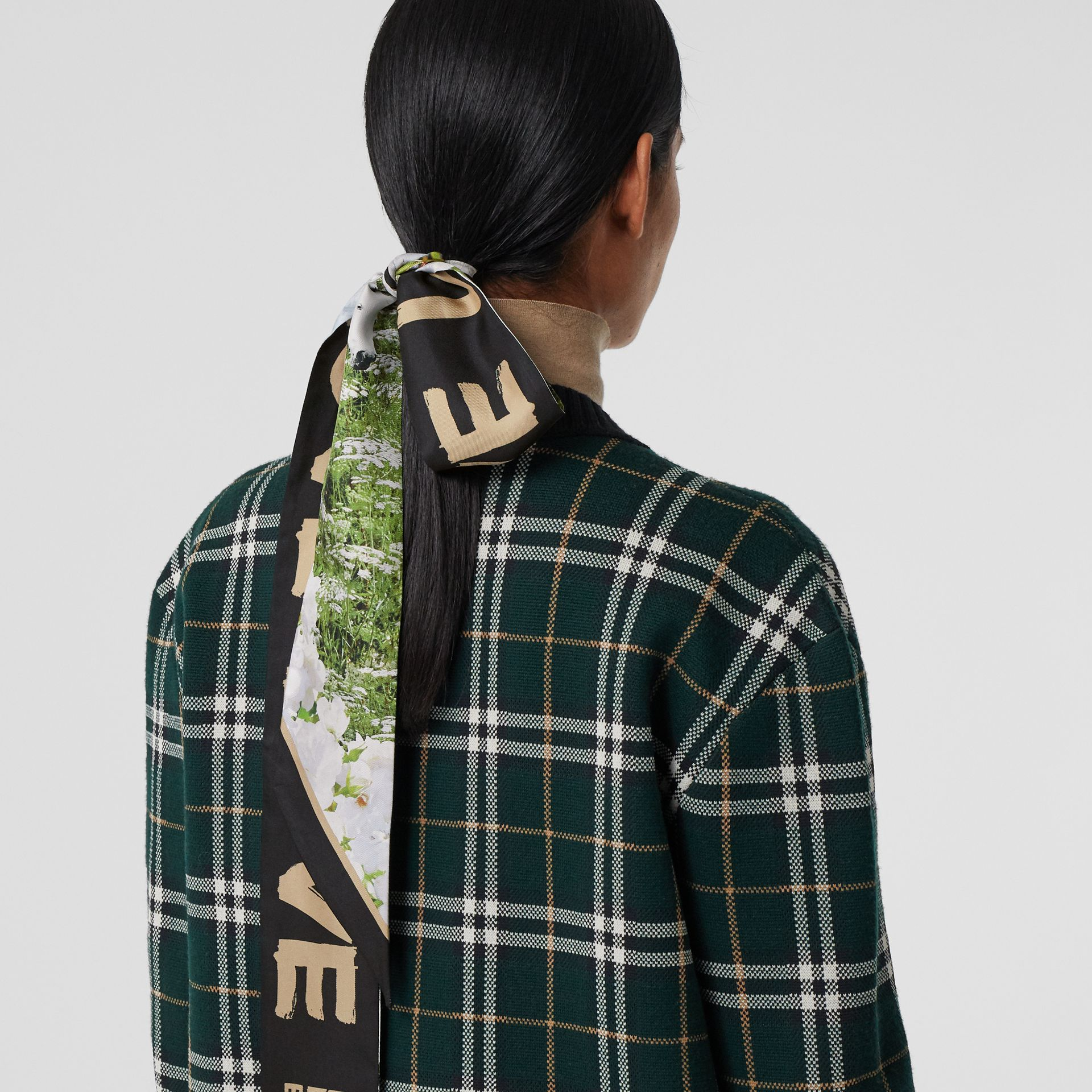 Montage Print Silk Skinny Scarf in Multicolour | Burberry - gallery image 2