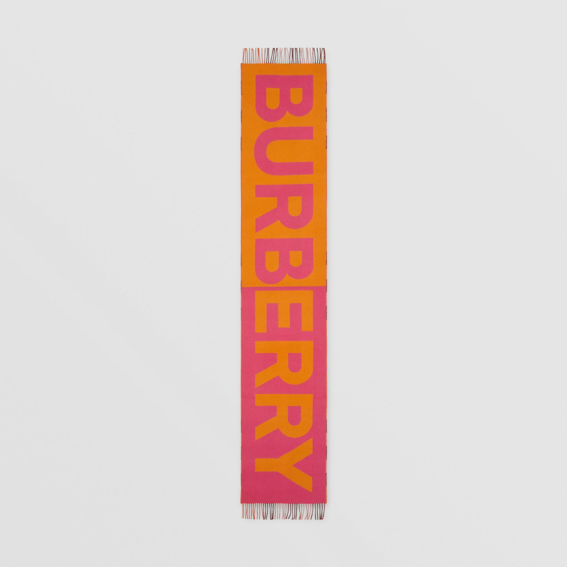 Reversible Check and Logo Cashmere Scarf in Orange | Burberry - gallery image 5
