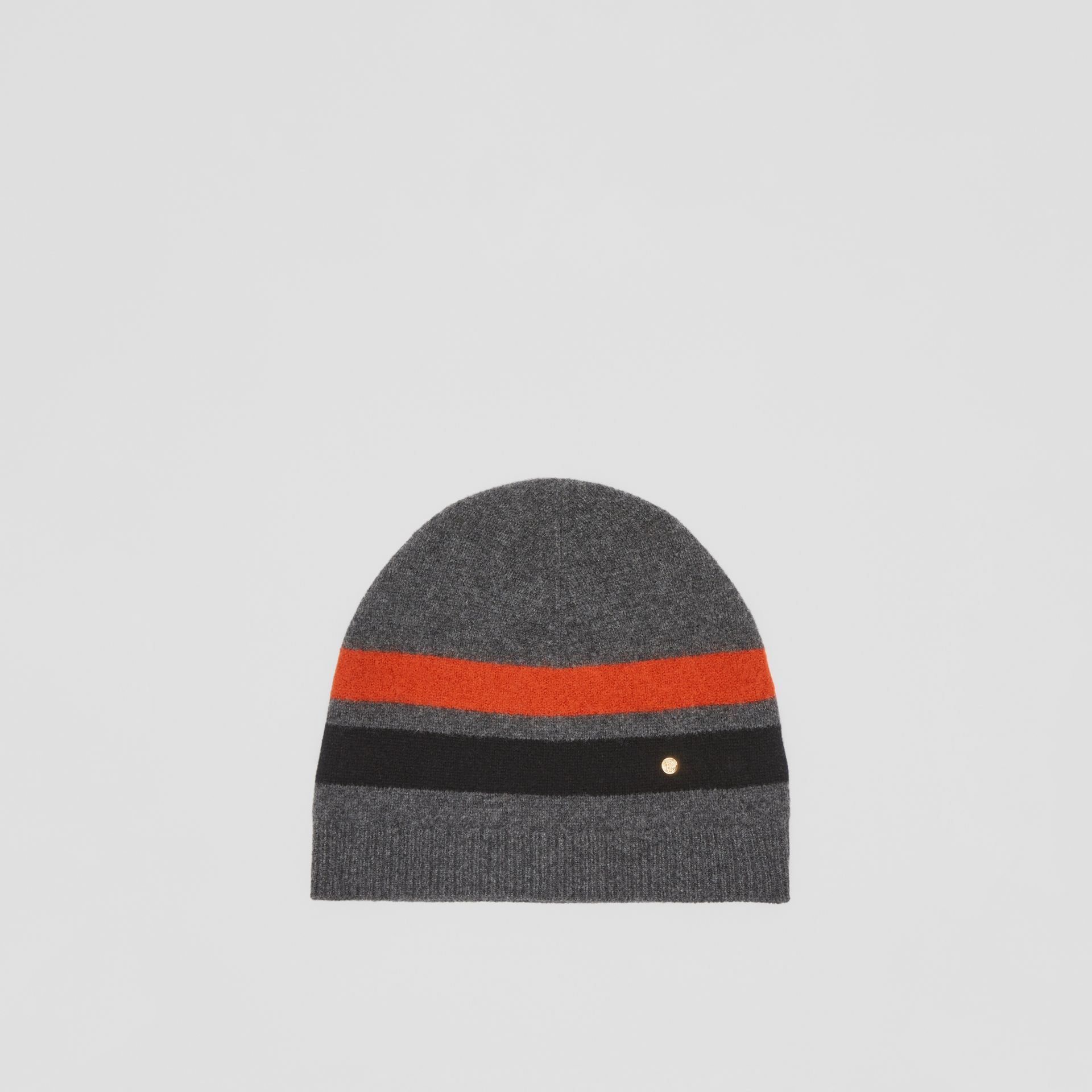 Monogram Motif Merino Wool Cashmere Beanie in Dark Grey | Burberry - gallery image 0
