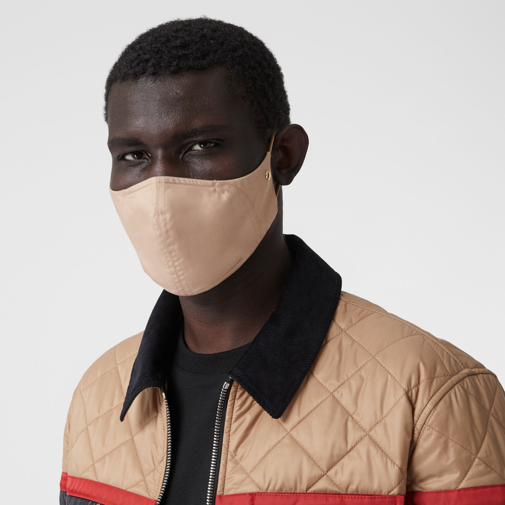 Logo Detail Cotton Face Mask in Soft Fawn | Burberry - gallery image 3