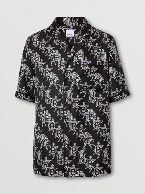 Mythical Alphabet Print Silk Pyjama Shirt – Unisex in Black