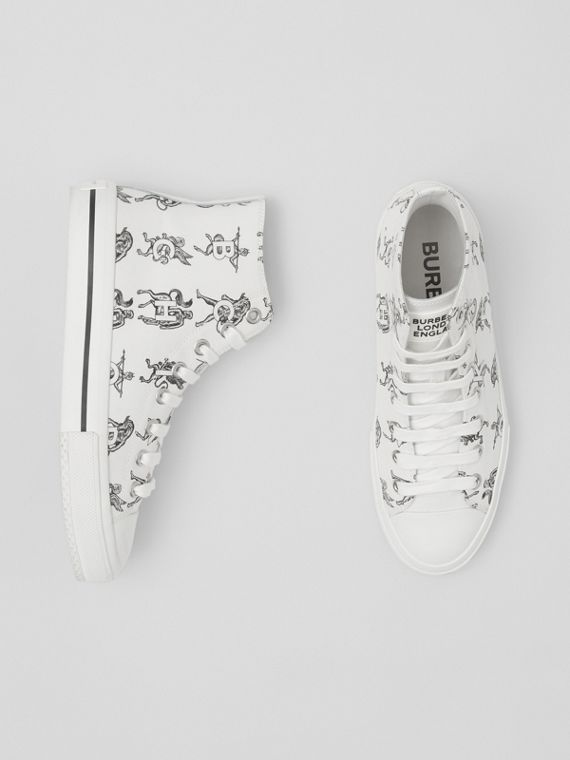 Mythical Alphabet Cotton Canvas High-top Sneakers in Optic White