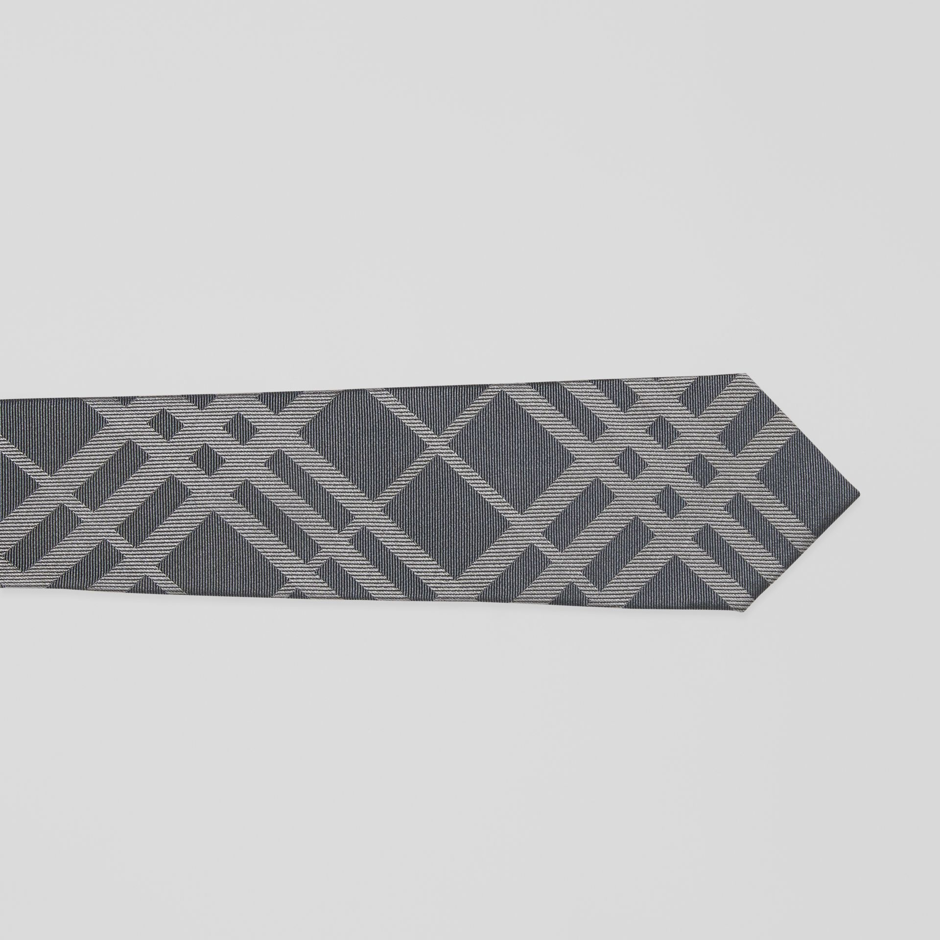 Classic Cut Check Silk Jacquard Tie in Mid Grey - Men | Burberry - gallery image 1