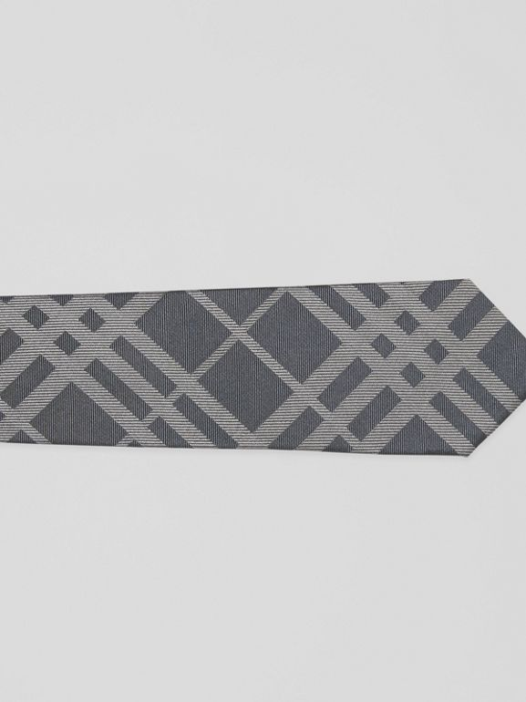 Classic Cut Check Silk Jacquard Tie in Mid Grey - Men | Burberry - cell image 1
