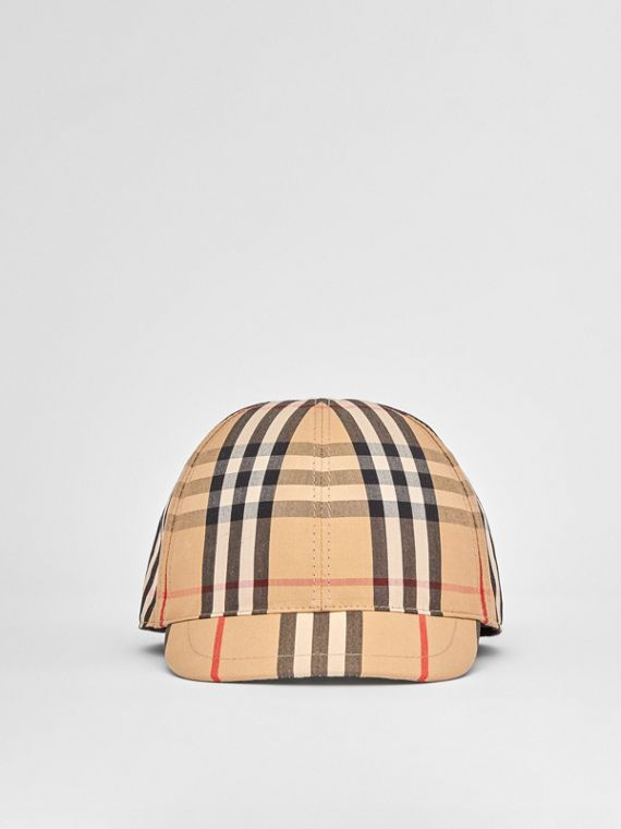 Vintage Check and Icon Stripe Cotton Baseball Cap in Archive Beige