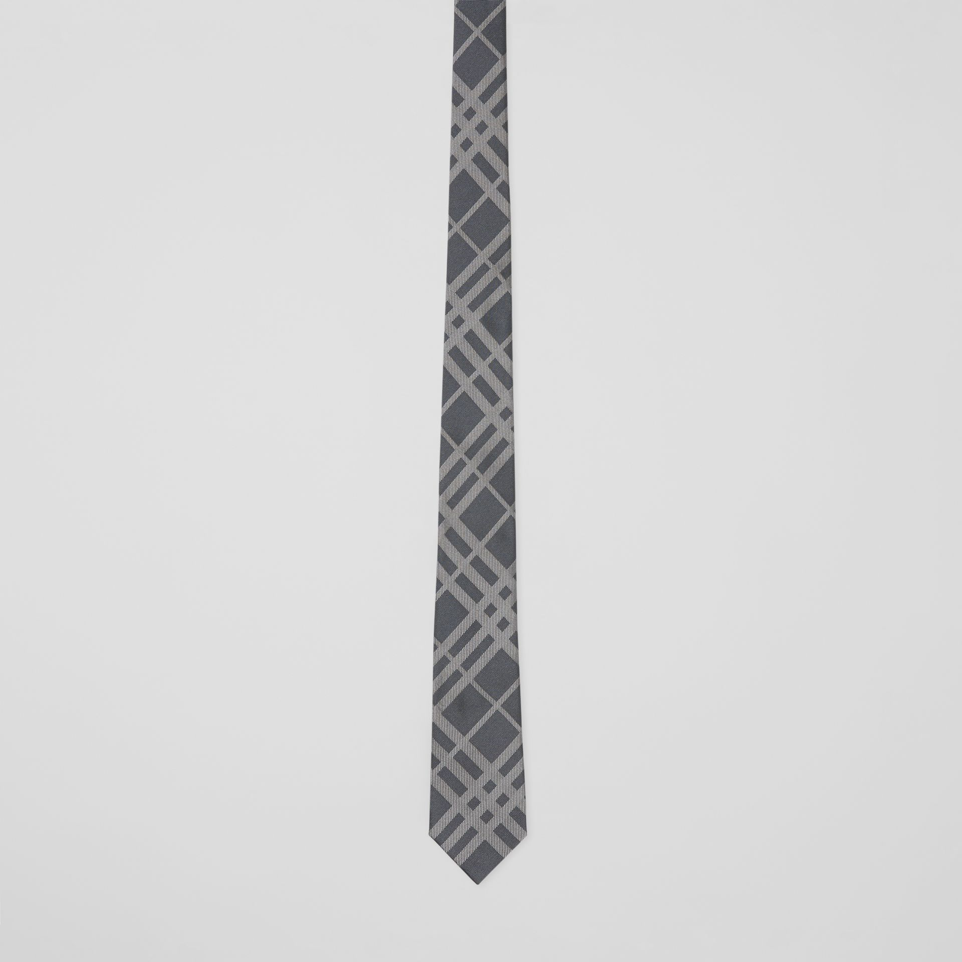 Classic Cut Check Silk Jacquard Tie in Mid Grey - Men | Burberry - gallery image 3