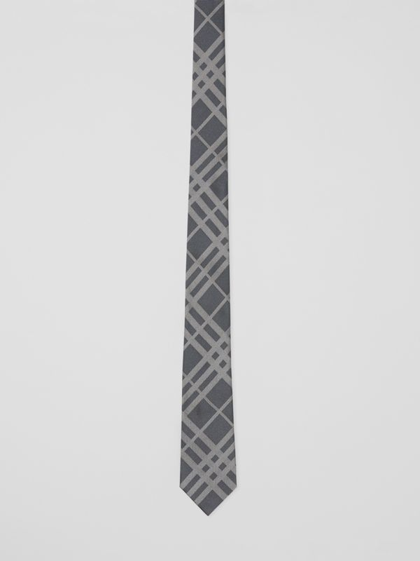 Classic Cut Check Silk Jacquard Tie in Mid Grey - Men | Burberry - cell image 3