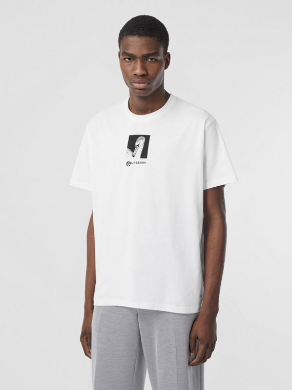 Swan and Logo Print Cotton Oversized T-shirt in Optic White