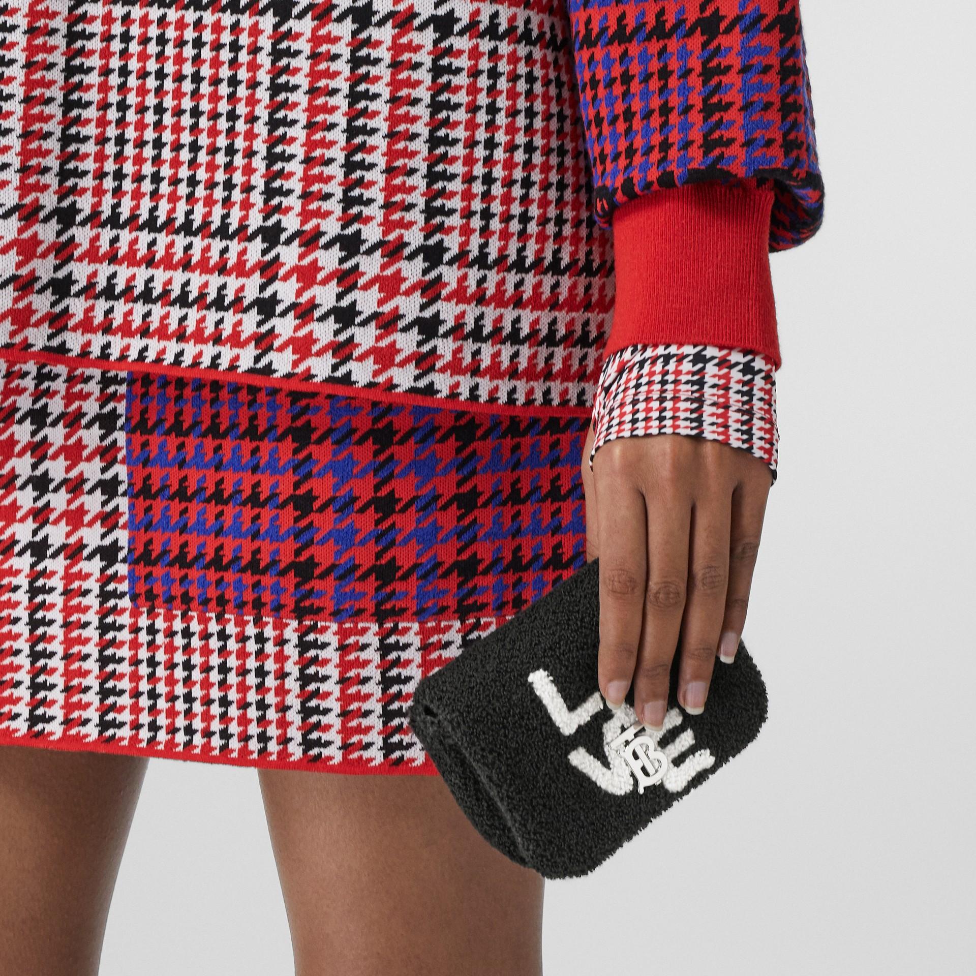 Micro Love Motif Towelling Lola Bag in Black - Women | Burberry - gallery image 9