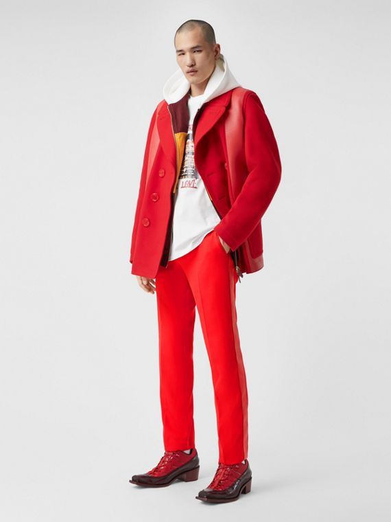 Lambskin Side Stripe Wool Tailored Trousers in Bright Red