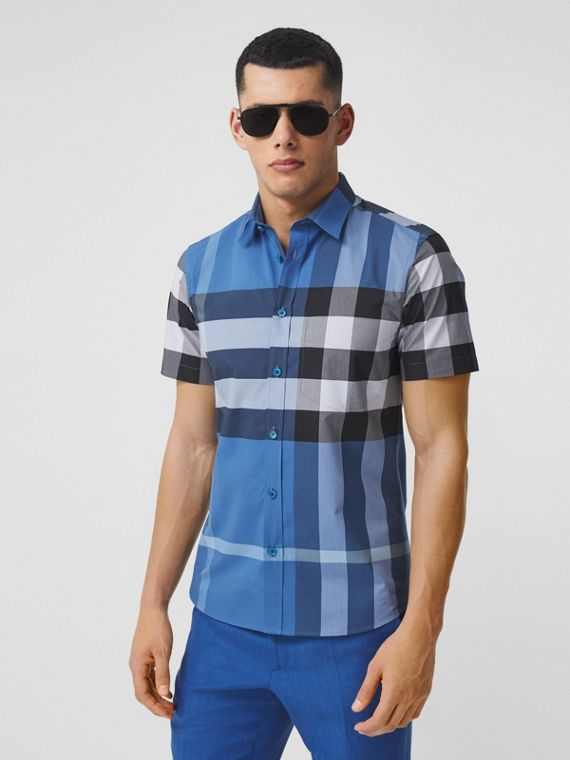 Camicia a maniche corte in popeline di cotone stretch con motivo tartan (Blu Ceruleo Scuro)