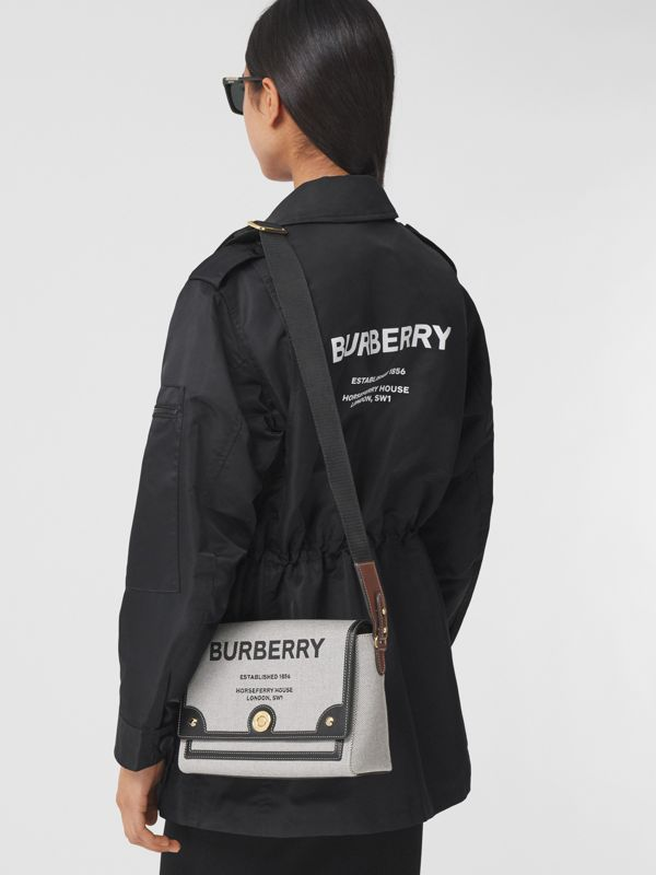 Horseferry Print Canvas Note Crossbody Bag in Black/black/tan - Women | Burberry - cell image 2