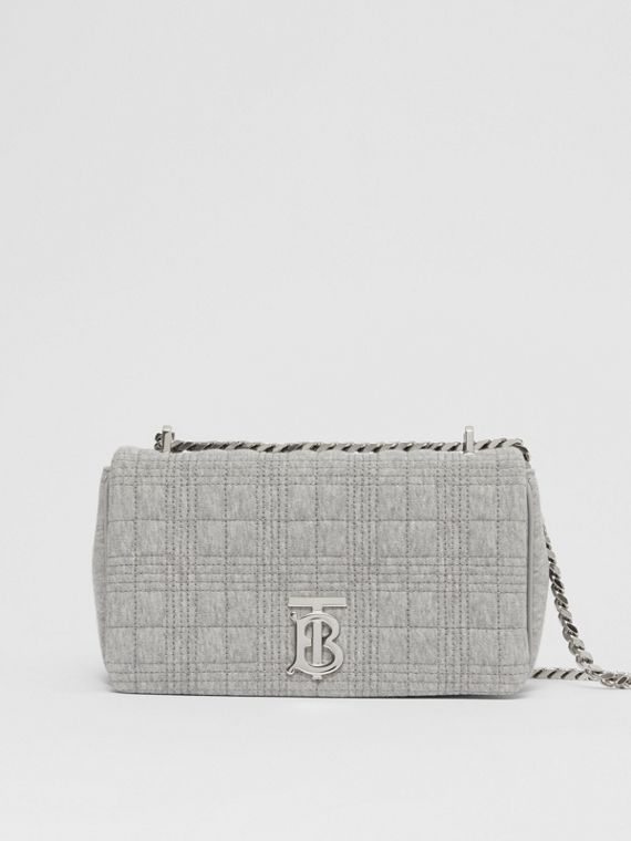 Small Quilted Jersey Lola Bag in Grey Taupe Melange