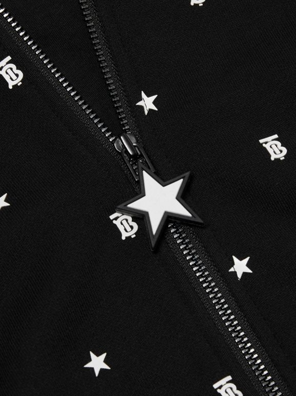 Star and Monogram Motif Cotton Hooded Top in Black - Children | Burberry - cell image 1