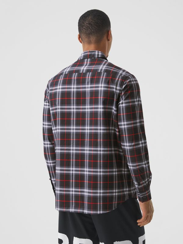 Love Print Vintage Check Cotton Shirt in Black - Men | Burberry - cell image 2