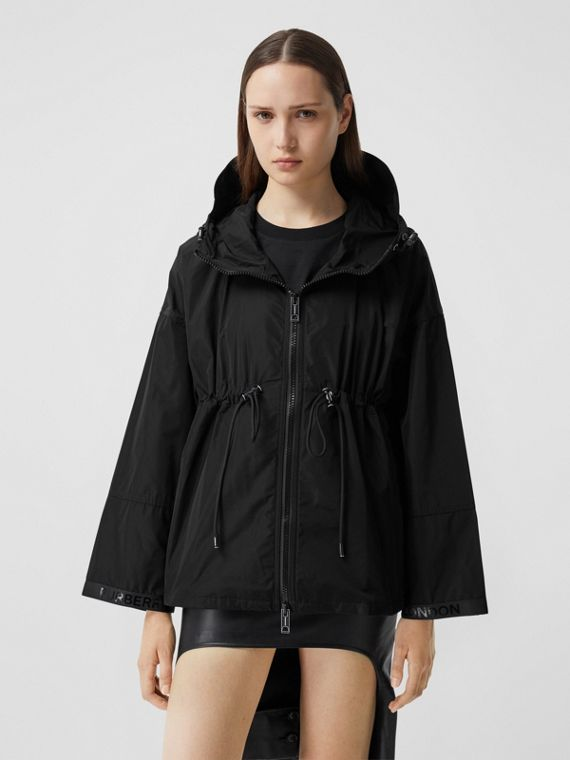 Logo Tape Shape-memory Taffeta Hooded Jacket