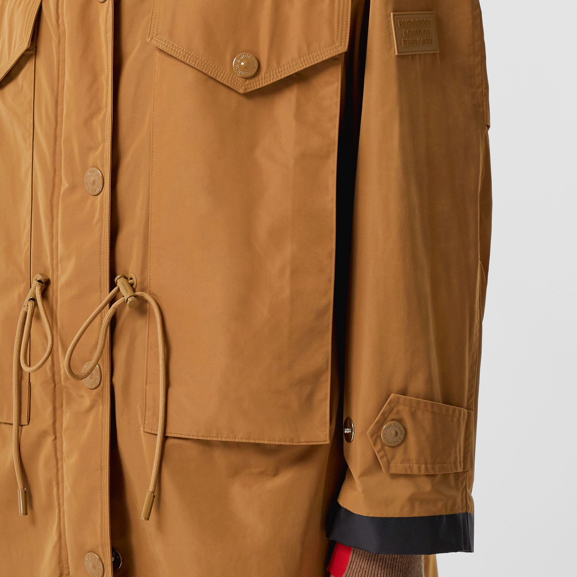 Detachable Hood Shape-memory Taffeta Parka in Camel - Women | Burberry - gallery image 5