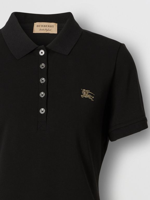 Check Trim Stretch Cotton Polo Shirt in Black - Women | Burberry - cell image 1