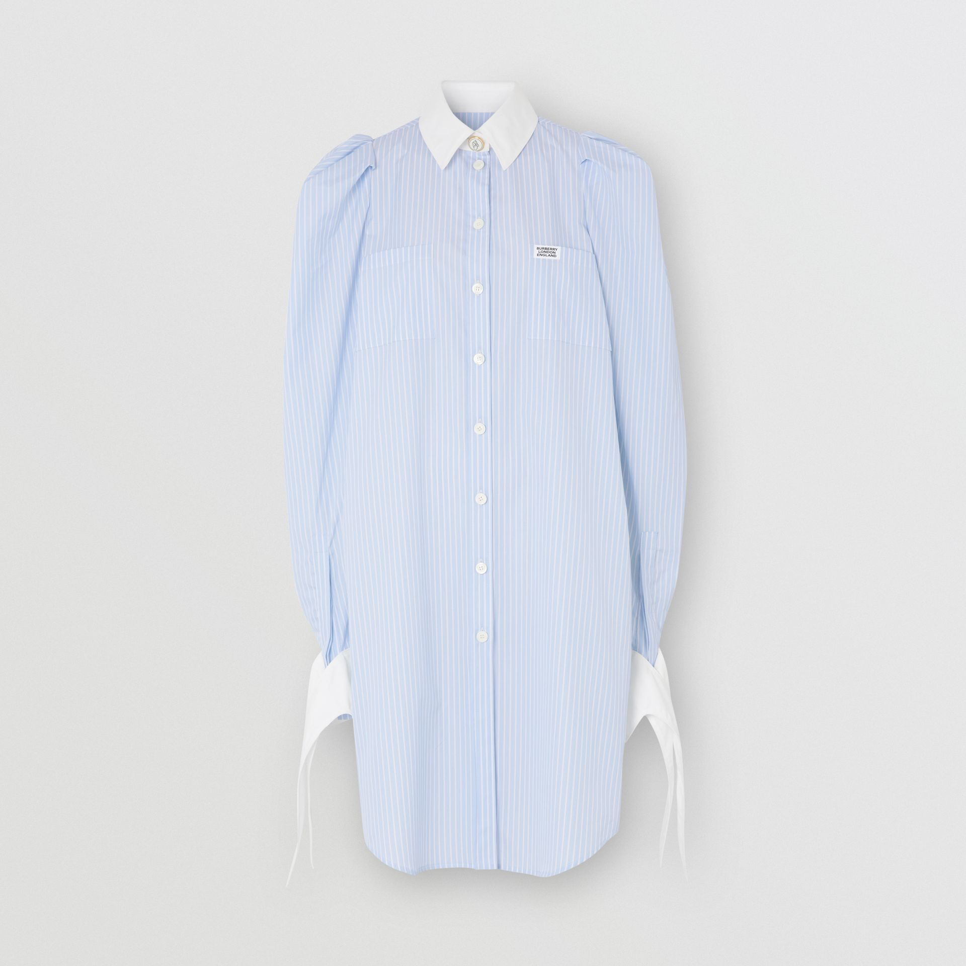 Striped Cotton Poplin Shirt Dress in Pale Blue - Women | Burberry - gallery image 3