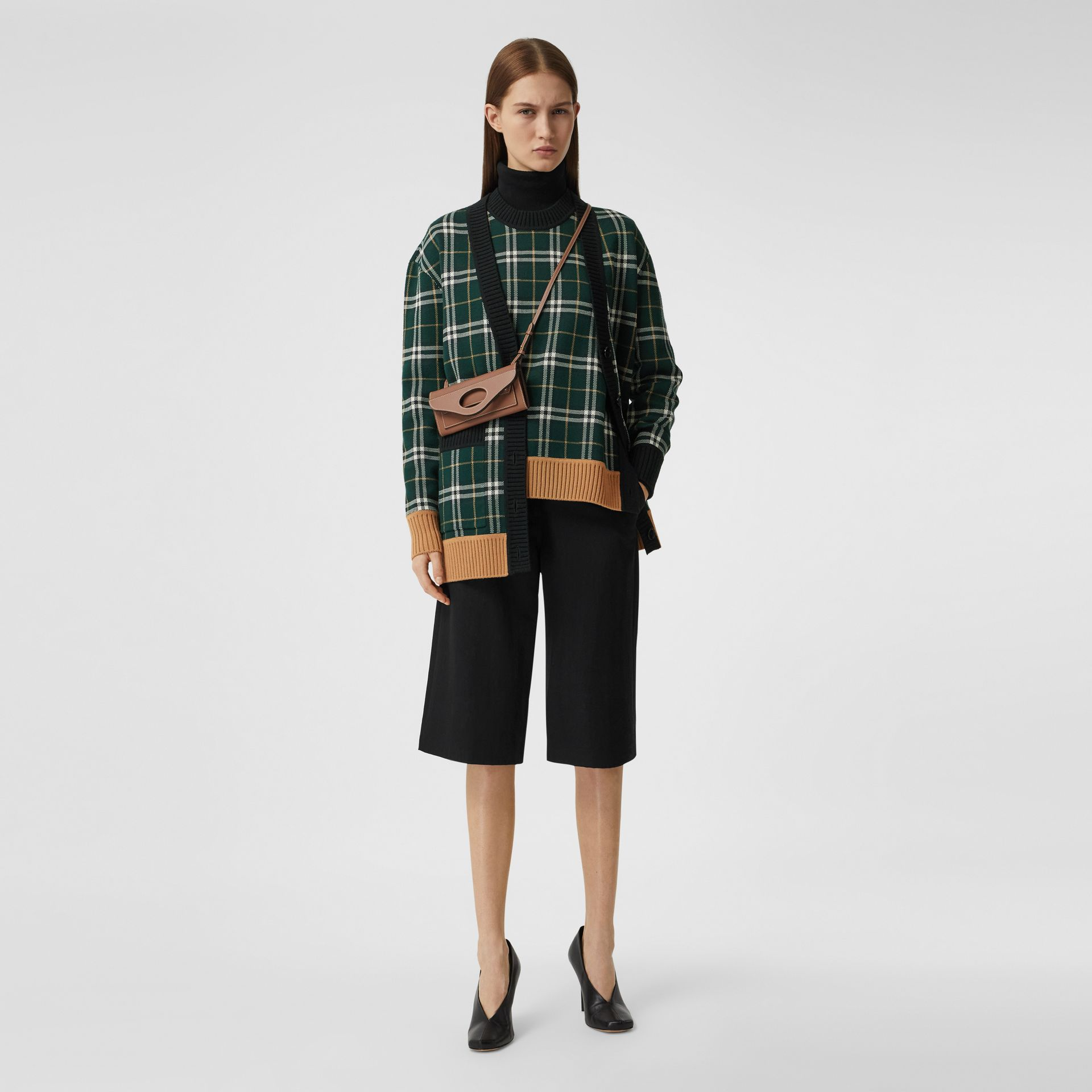 Check Technical Merino Wool Jacquard Sweater in Bottle Green - Women | Burberry - gallery image 5