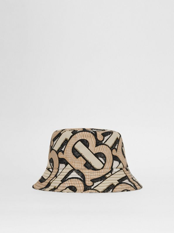 Monogram Print Cotton Canvas Bucket Hat in Dark Beige