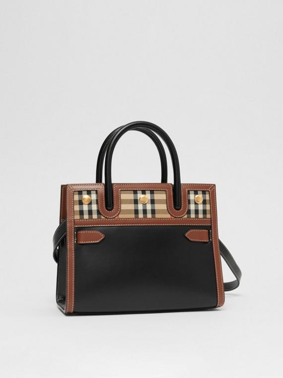 """Tasche """"Title"""" im Miniformat aus Leder und Vintage Check-Gewebe mit zwei Griffen (Schwarz)"""