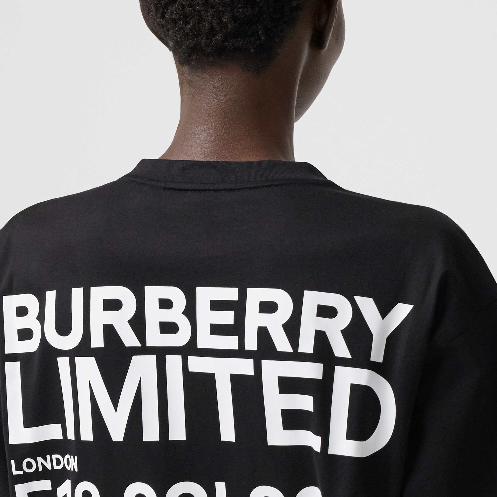 Coordinates Print Cotton Oversized T-shirt in Black - Women | Burberry Canada - gallery image 1