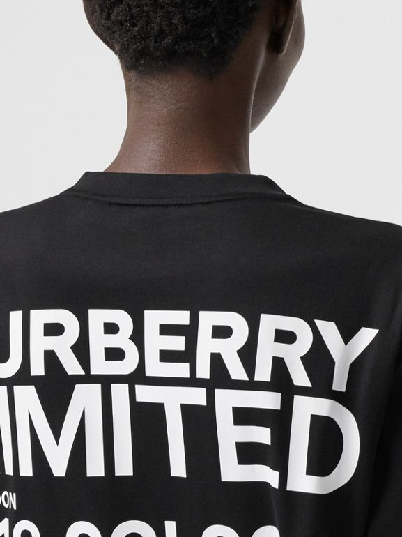 Coordinates Print Cotton Oversized T-shirt in Black - Women | Burberry Canada - cell image 1
