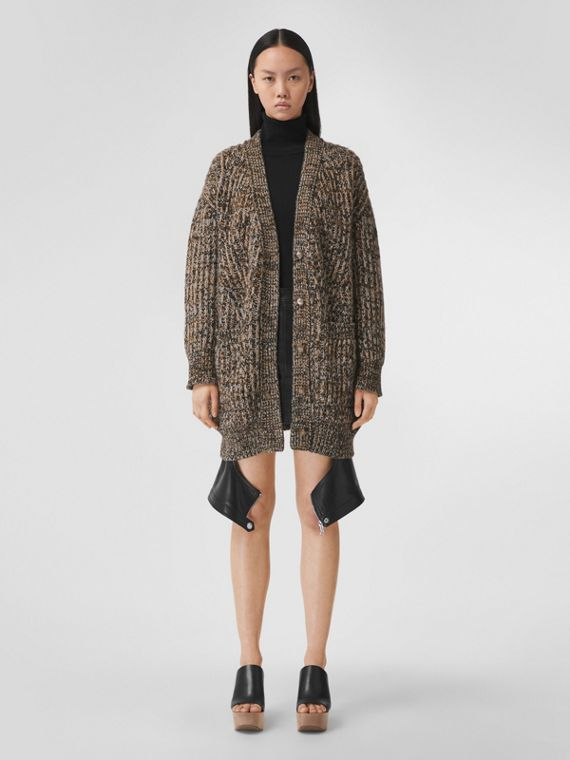 Woodland Print Appliqué Cashmere Mouliné Cardigan in Black