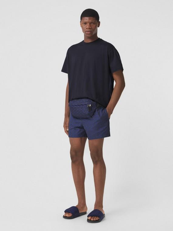 T-shirt oversize en coton rayé Monogram (Bleu Charbon)