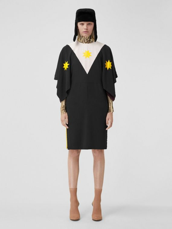 Cape Sleeve Geometric Print Silk Crepe de Chine Dress in Black