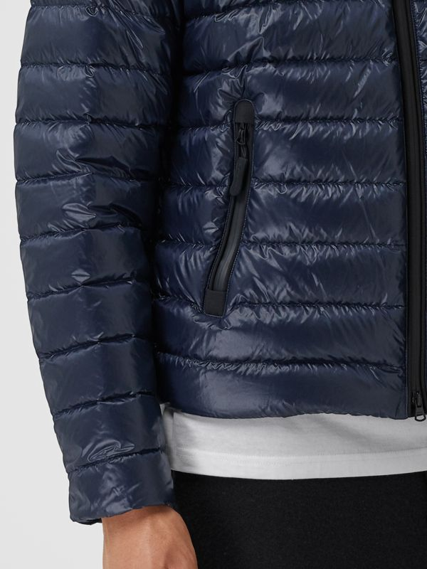 Diamond Quilted Panel Hooded Puffer Jacket in Midnight - Men | Burberry - cell image 3
