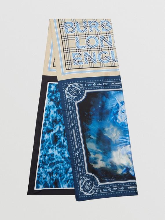 Sciarpa in seta con collage di stampe (Blu Cobalto)