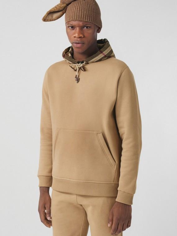 Suéter em algodão com capuz xadrez (Camel)