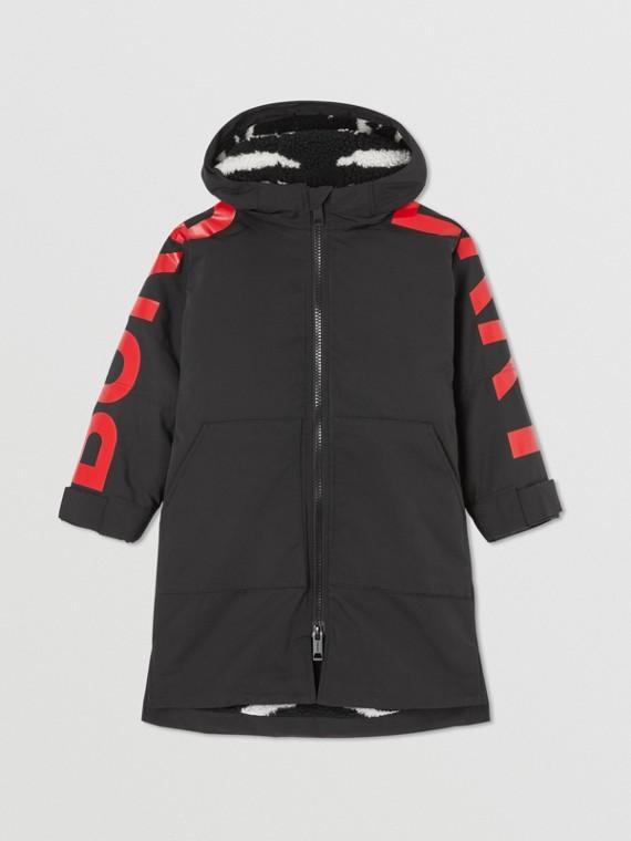Zebra Jacquard Fleece-lined Logo Print Oversized Coat in Black