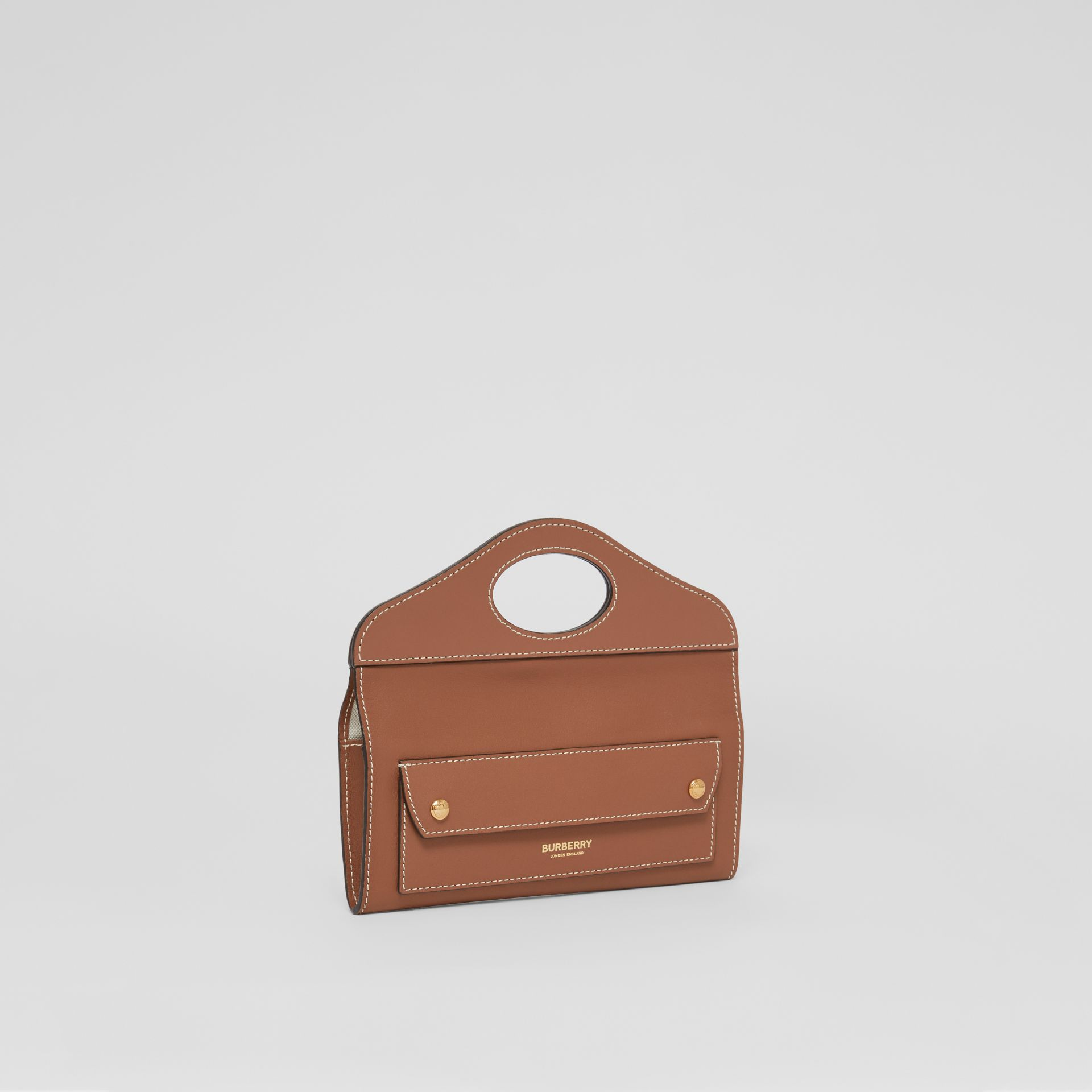 Mini Topstitched Lambskin Pocket Clutch in Malt Brown - Women | Burberry - gallery image 6