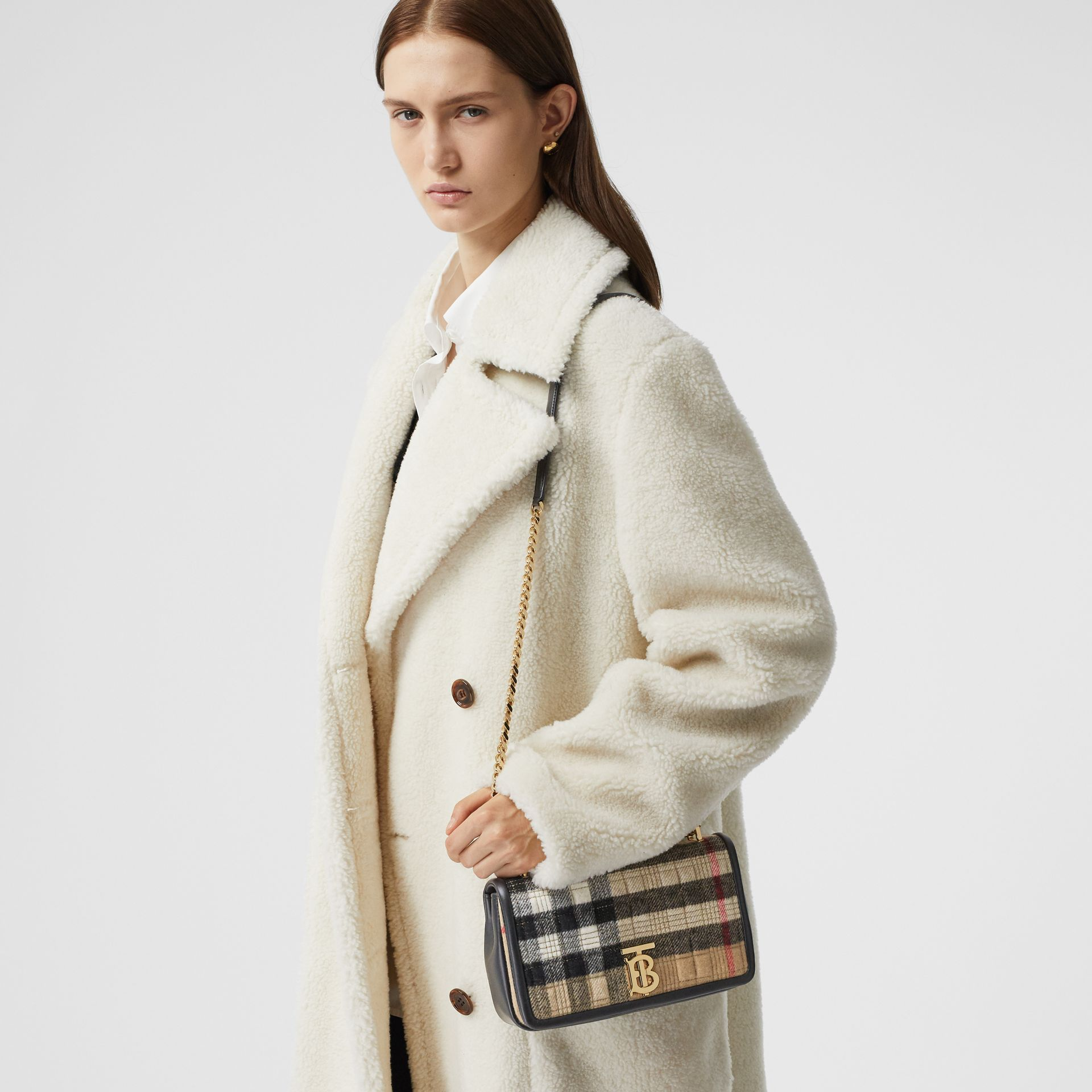 Small Check Cashmere Lola Bag in Archive Beige - Women | Burberry United States - gallery image 8