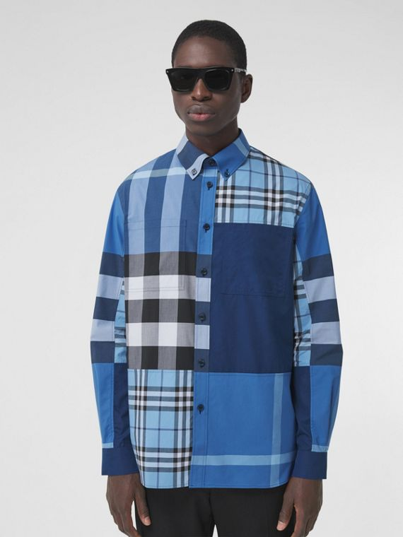 Patchwork Check Cotton Poplin Shirt in Vivid Cobalt