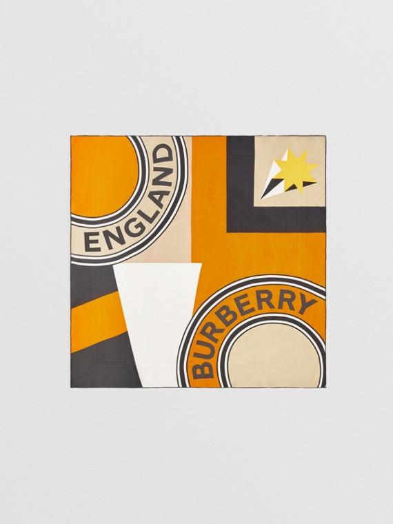 Geometric Print Silk Square Scarf in Bright Orange
