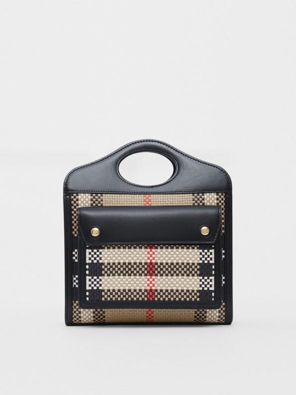 Bolsa Pocket de couro reticulado - Mini (Bege Clássico/preto)
