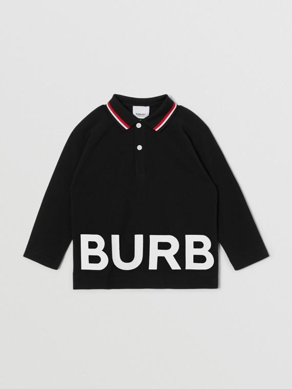 Long-sleeve Logo Print Cotton Polo Shirt in Black