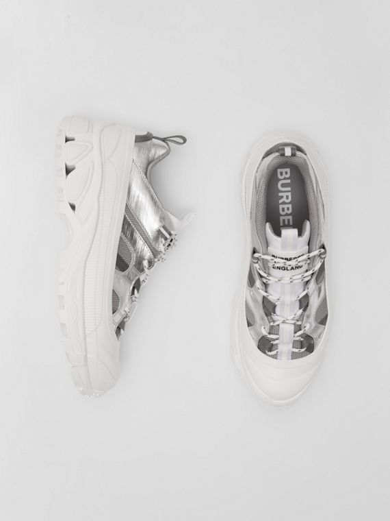Metallic Leather, Nylon and Mesh Arthur Sneakers in Silver