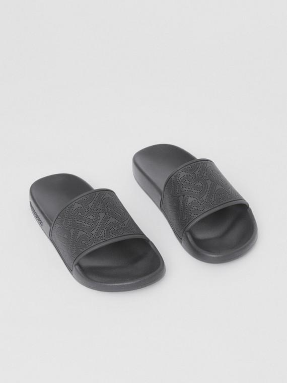 Perforated Monogram Slides in Black