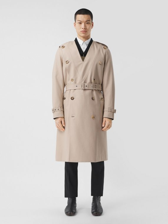 Cotton Gabardine V-neck Trench Coat in Soft Fawn