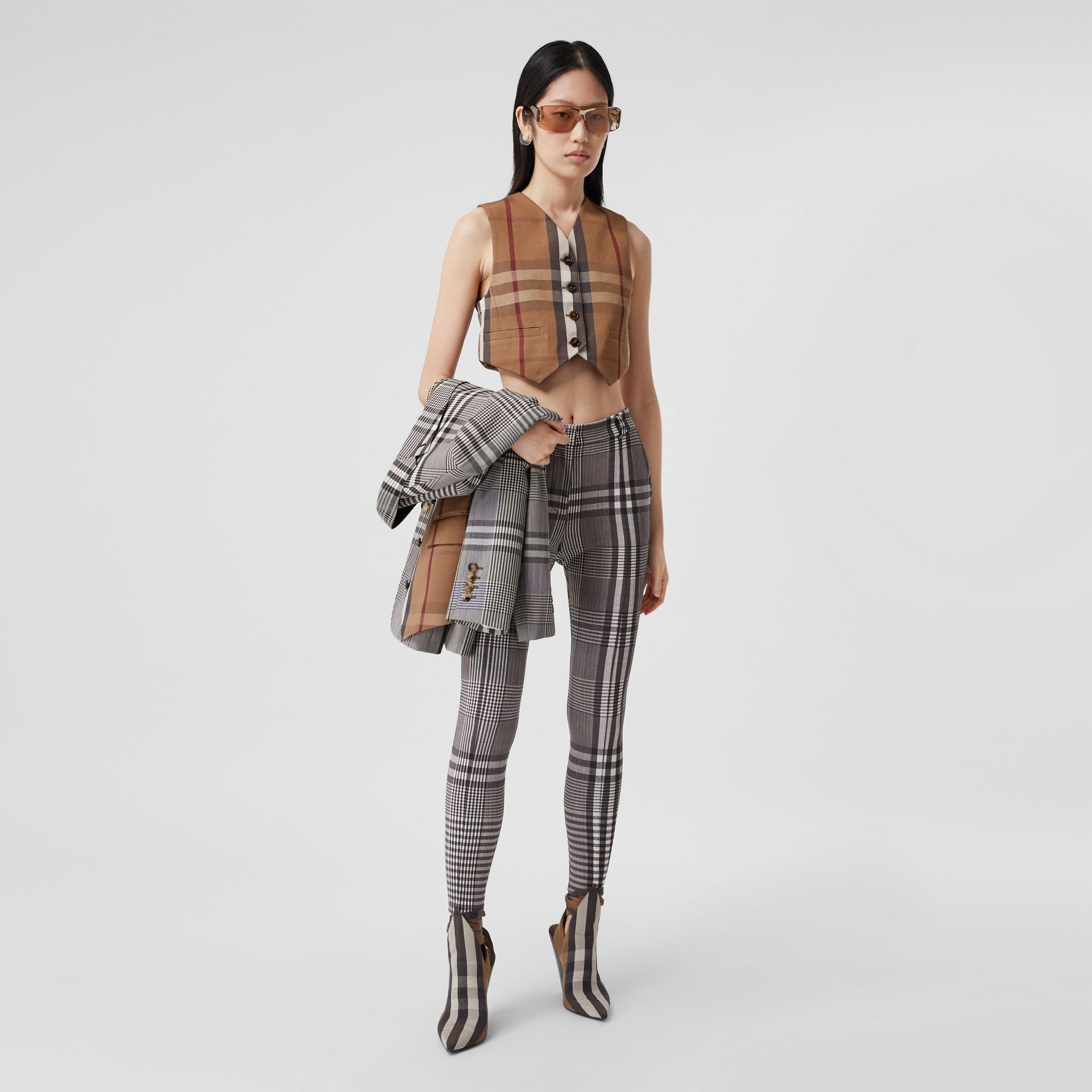 Check Technical Cotton Cropped Waistcoat in Birch Brown - Women | Burberry - gallery image 0