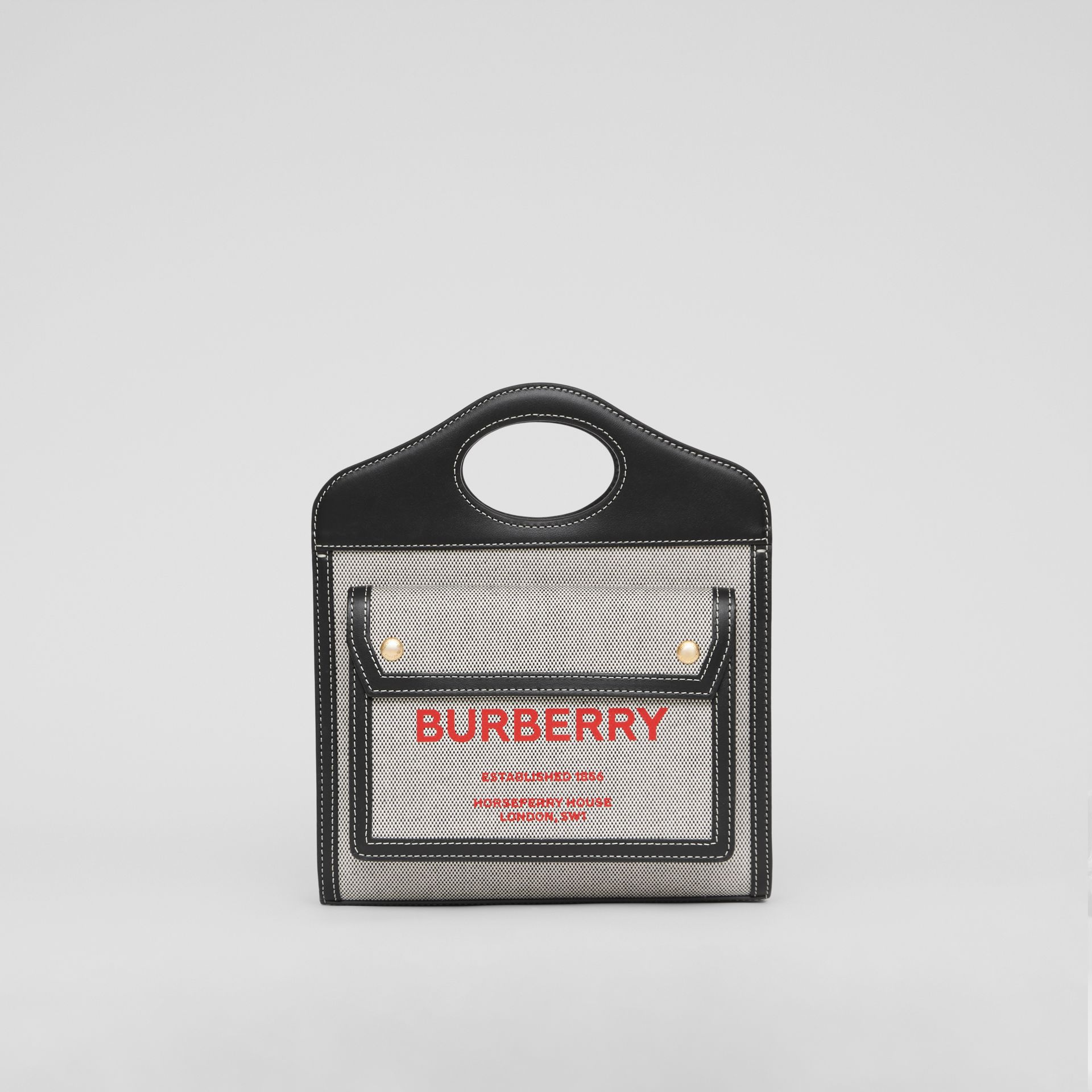 Mini Two-tone Canvas and Leather Pocket Bag in Black/fiery Red - Women | Burberry - gallery image 0