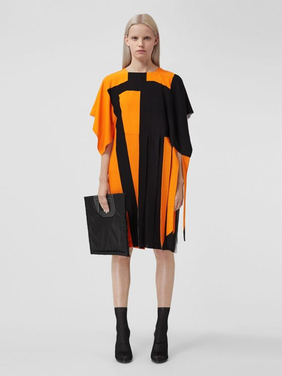 Cape Sleeve Geometric Print Silk Crepe de Chine Dress in Bright Orange