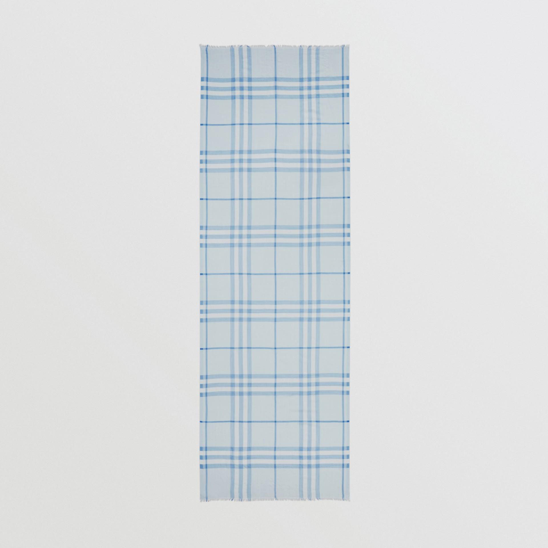 Lightweight Check Wool Silk Scarf   Burberry United Kingdom - gallery image 3