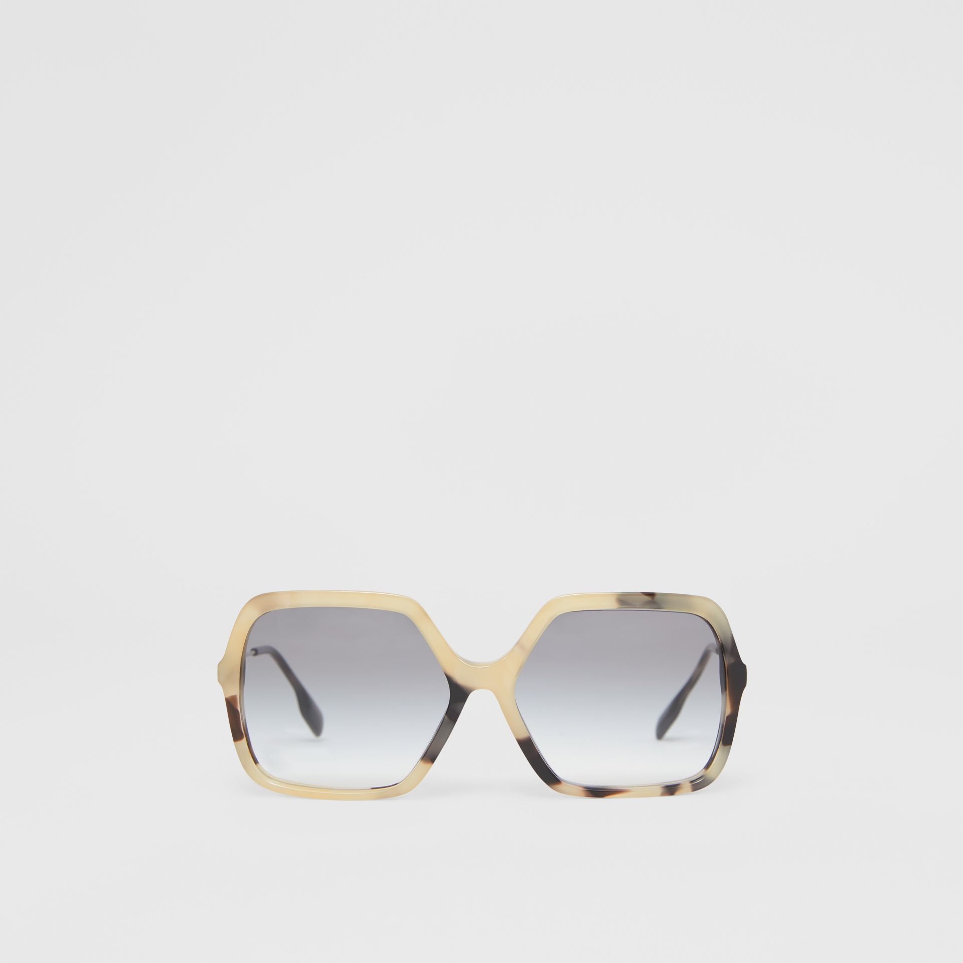 Oversized Square Frame Sunglasses in Honey Tortoiseshell - Women | Burberry - gallery image 0