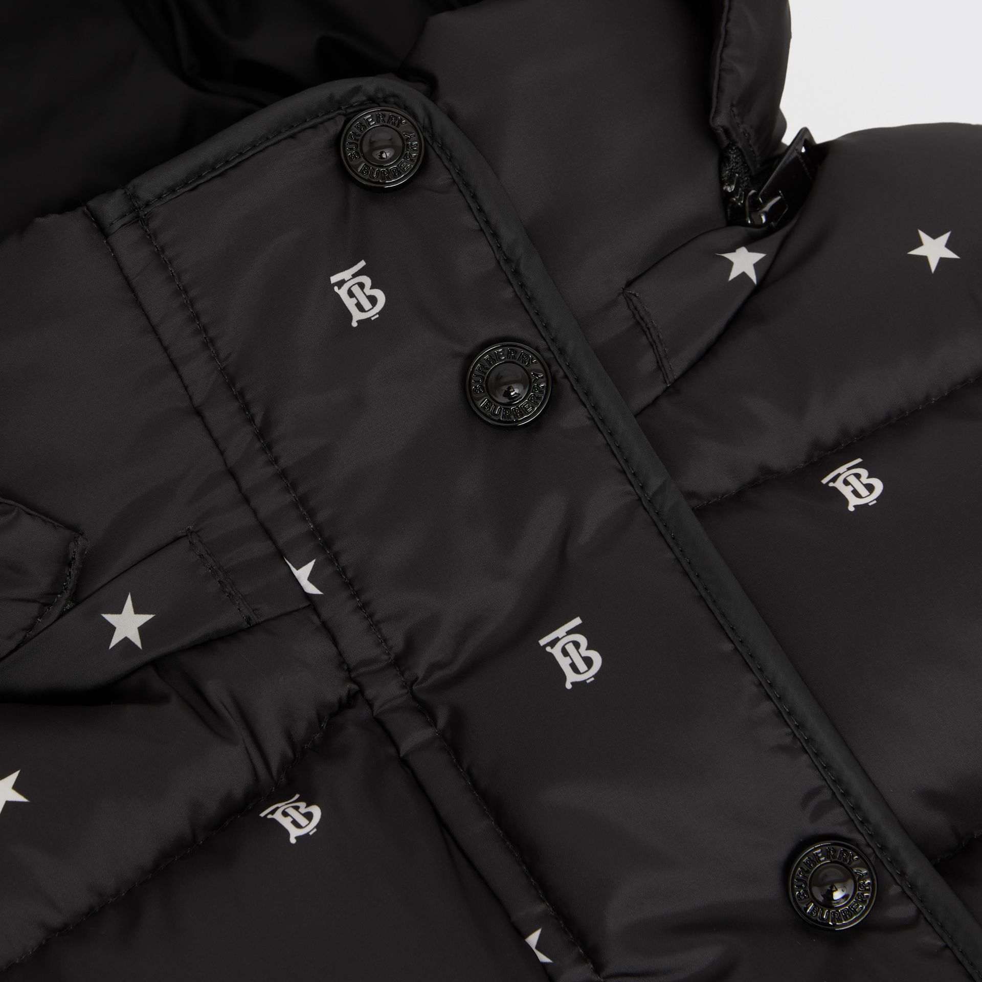 Star and Monogram Motif Puffer Gilet in Black | Burberry - gallery image 1
